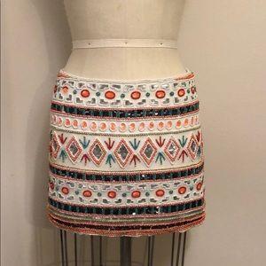 Tribal Beaded Mini Skirt